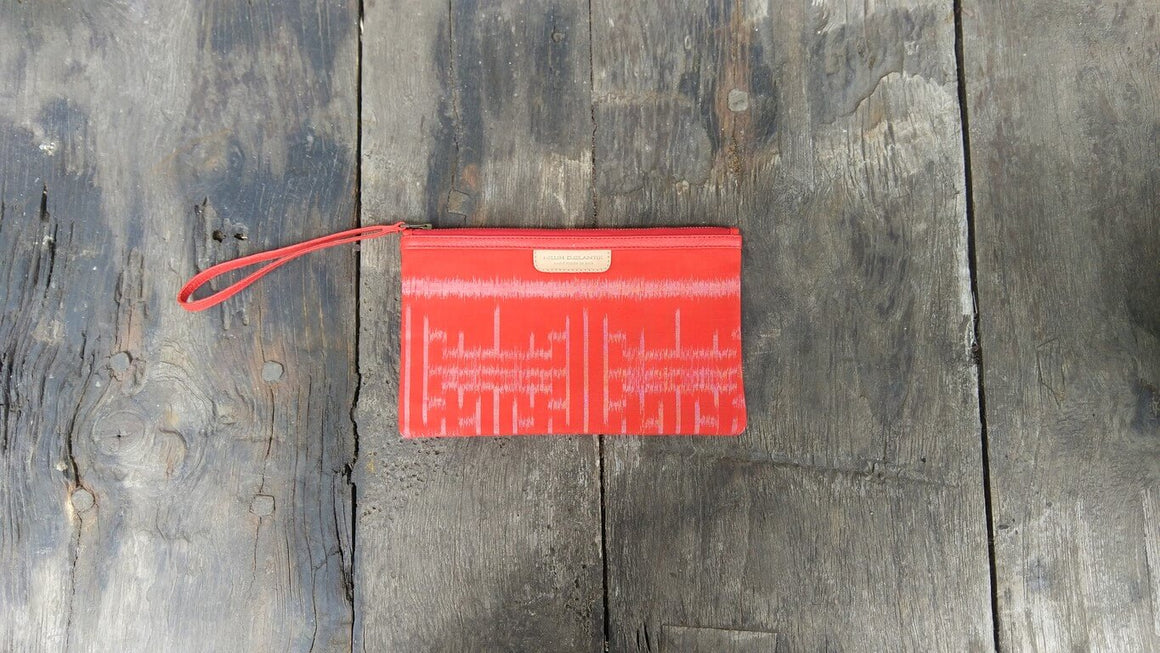 Leather-shoes-Clutch 14x23 - Red Handwoven Ikat-Zipper Clutch-NILUH DJELANTIK-NILUH DJELANTIK