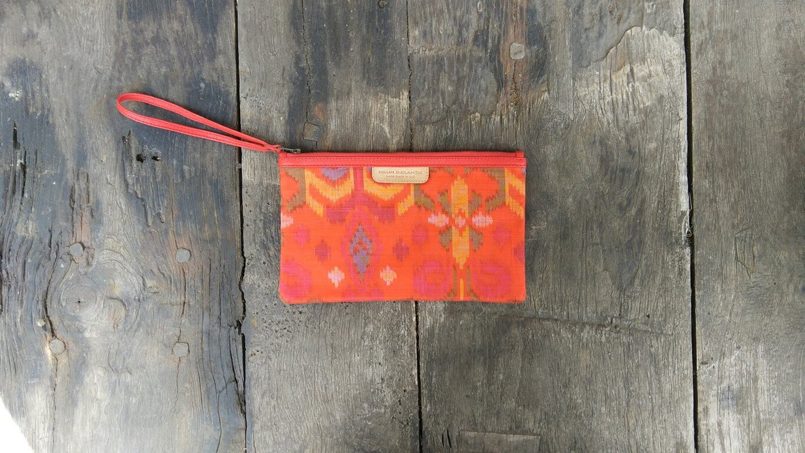 Leather-shoes-Clutch 14x23 - Light Orange Handwoven Ikat-Zipper Clutch-NILUH DJELANTIK-NILUH DJELANTIK