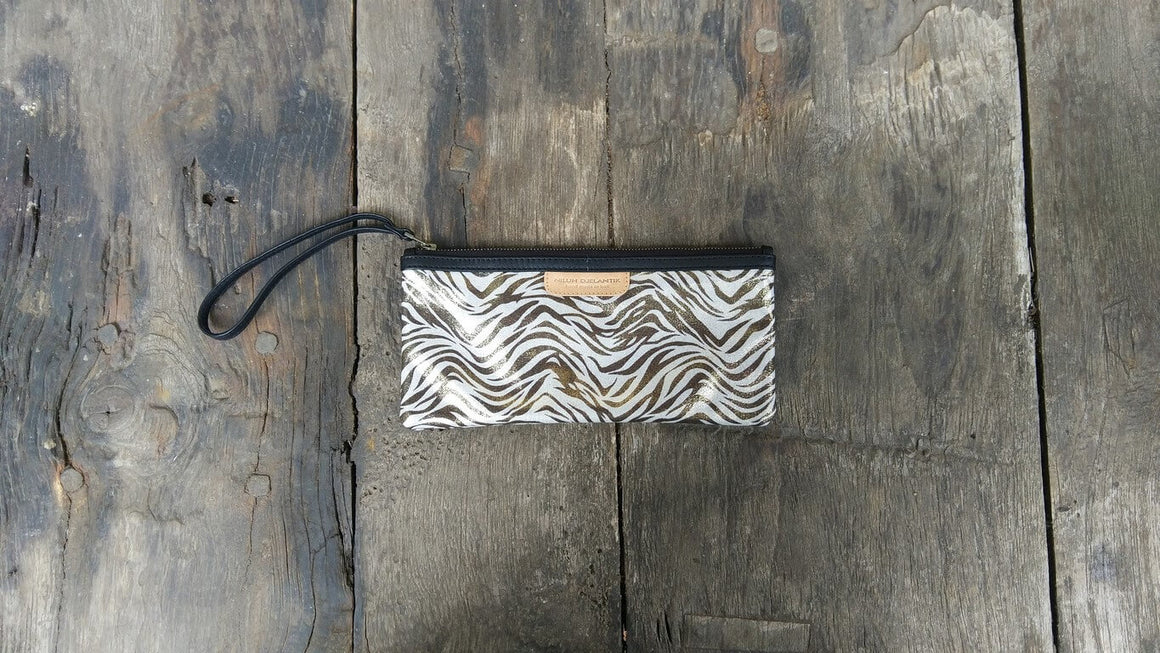 Leather-shoes-Clutch 11x23 - Bronze & Grey Zebra Print-Zipper Clutch-NILUH DJELANTIK-NILUH DJELANTIK