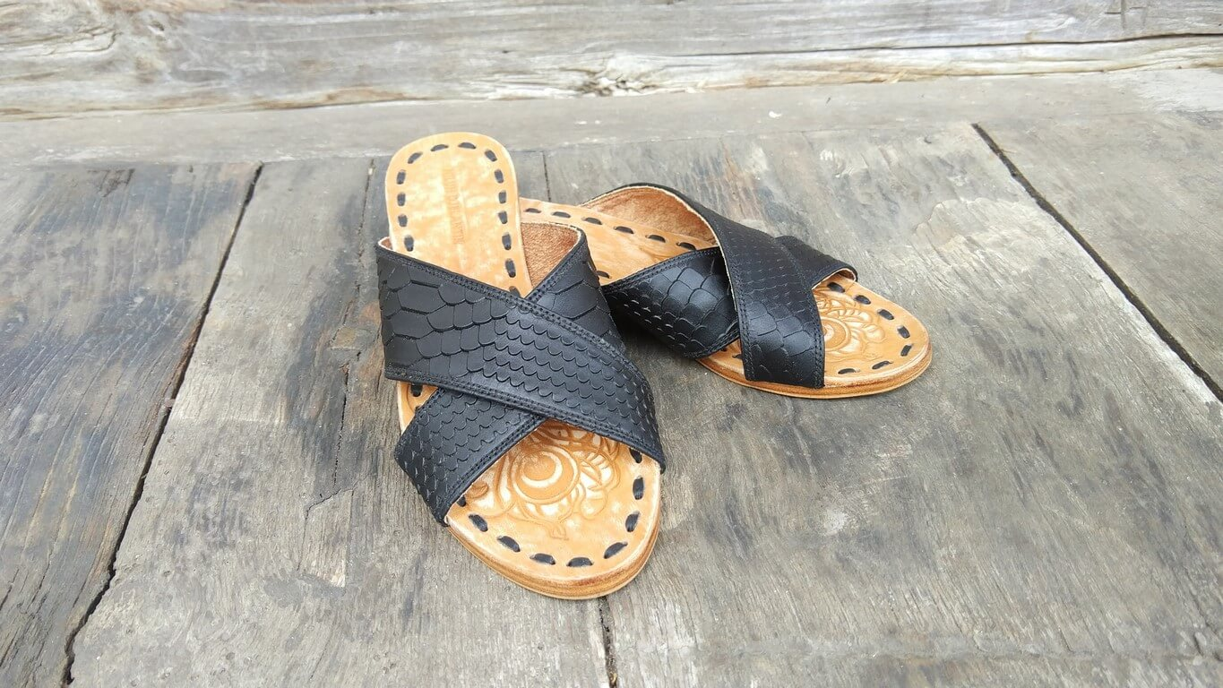 Leather-shoes-Ines 20mm Flat - Black Phyton Print-sandals flat-NILUH DJELANTIK-NILUH DJELANTIK