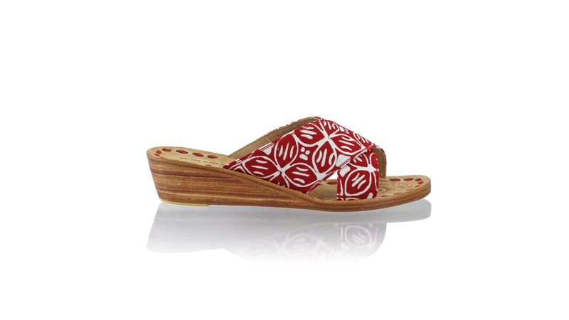 Leather-shoes-Ines 35mm Wedge - Red Batik Motif Kawung-sandals wedges-NILUH DJELANTIK-NILUH DJELANTIK