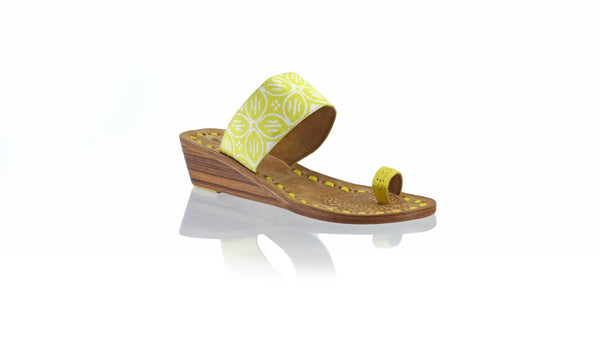 Leather-shoes-Arini 35mm Wedge - Yellow Batik Motif Kawung-sandals wedges-NILUH DJELANTIK-NILUH DJELANTIK