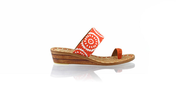 Leather-shoes-Arini 35mm Wedge - Orange Batik Motif Nangka-sandals wedges-NILUH DJELANTIK-NILUH DJELANTIK
