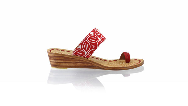 Leather-shoes-Arini 35mm Wedge - Red Batik Motif Kawung-sandals wedges-NILUH DJELANTIK-NILUH DJELANTIK