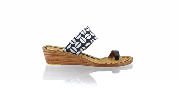 Leather-shoes-Arini 35mm Wedge - Black Batik Motif Coffee-sandals wedges-NILUH DJELANTIK-NILUH DJELANTIK