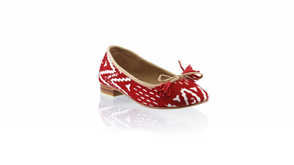 Leather-shoes-Sasha 20mm Ballet - Red Batik Motif ZigZag-flats ballet-NILUH DJELANTIK-NILUH DJELANTIK