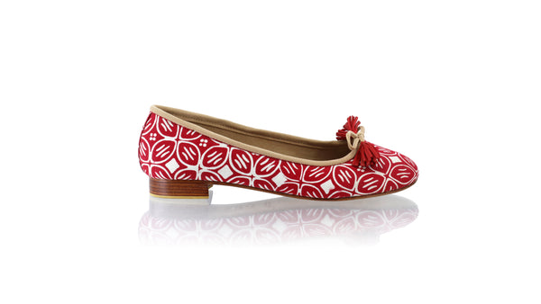 Leather-shoes-Sasha 20mm Ballet - Red Batik Motif Kawung-flats ballet-NILUH DJELANTIK-NILUH DJELANTIK