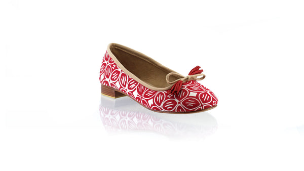 Leather-shoes-Noemi 20mm Ballet - Red Batik Motif Kawung-flats ballet-NILUH DJELANTIK-NILUH DJELANTIK