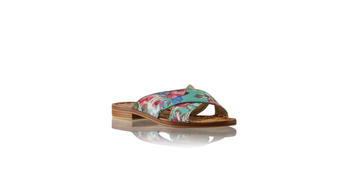 Leather-shoes-Ines 20mm Flat - Aqua & Pink Twill Cotton-sandals flat-NILUH DJELANTIK-NILUH DJELANTIK