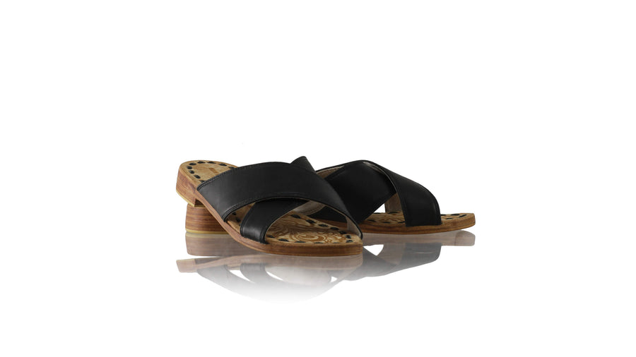 Leather-shoes-Ines 20mm Flat - Black Charcoal-sandals flat-NILUH DJELANTIK-NILUH DJELANTIK