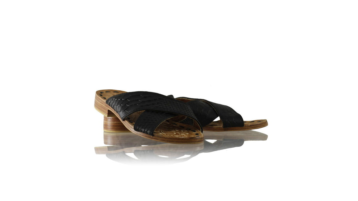 Leather-shoes-Ines 20mm Flat - Black Croco Print-sandals flat-NILUH DJELANTIK-NILUH DJELANTIK