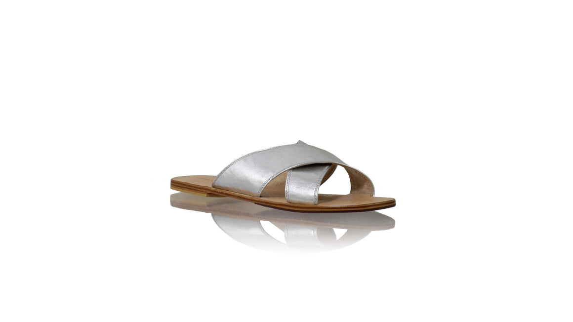 Leather-shoes-Ines 20mm Flat - Silver-sandals flat-NILUH DJELANTIK-NILUH DJELANTIK