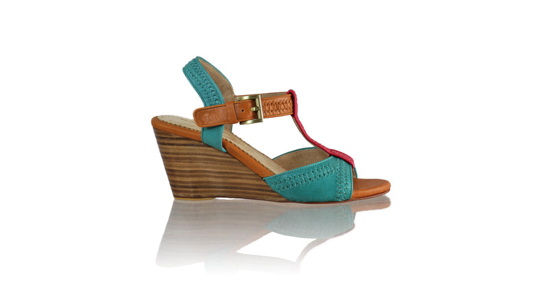 Leather-shoes-Jazz 80mm Wedge - Dark Aqua Fuschia & Camel-sandals wedges-NILUH DJELANTIK-NILUH DJELANTIK