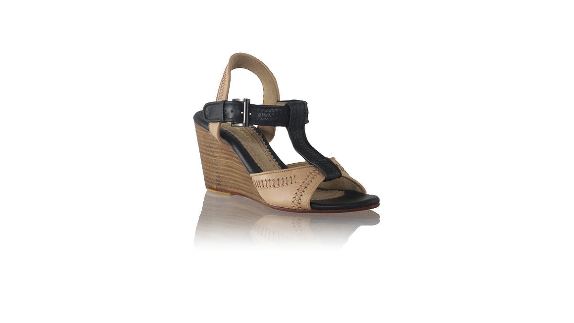 leather shoes Jazz 80mm Wedges - Nude & Black,  , NILUH DJELANTIK - 1