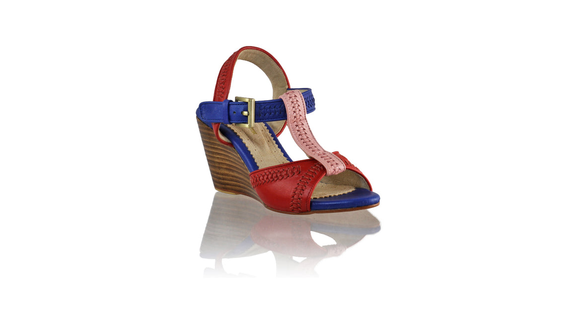 Leather-shoes-Jazz 80mm Wedges - Red Soft Pink & Blue-sandals wedges-NILUH DJELANTIK-NILUH DJELANTIK