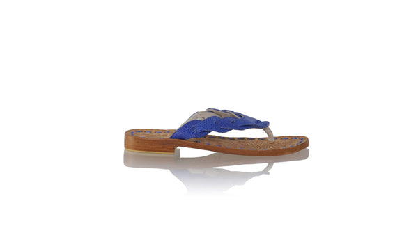 Leather-shoes-Jhonny Thong 20mm Flat - Blue Stingray Print-sandals flat-NILUH DJELANTIK-NILUH DJELANTIK