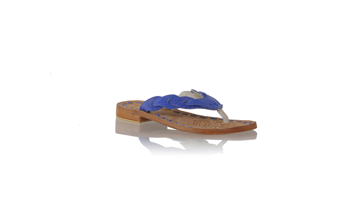 leather shoes Jhonny Thong 20 mm Flats - Blue Stingray Print, sandals flat , NILUH DJELANTIK - 1