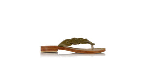 leather shoes Jhonny Thong 20mm - Olive, sandals flat , NILUH DJELANTIK - 1