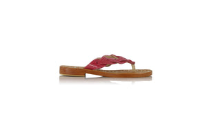 leather shoes Jhonny Thong 20mm - Stingray pattern Red, sandals flat , NILUH DJELANTIK - 1