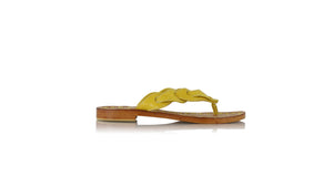 leather shoes Jhonny Thong 20mm - Stingray pattern Yellow, sandals flat , NILUH DJELANTIK - 1