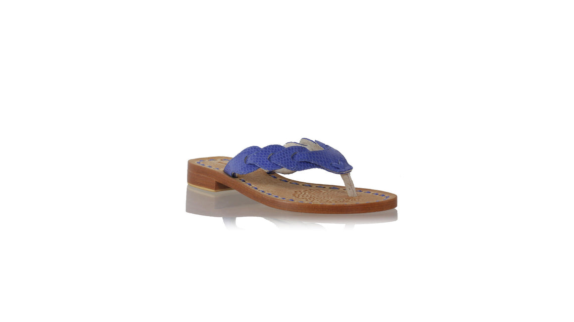 leather shoes Jhonny Thong 20mm Flats - Blue Snake Print, sandals flat , NILUH DJELANTIK - 1
