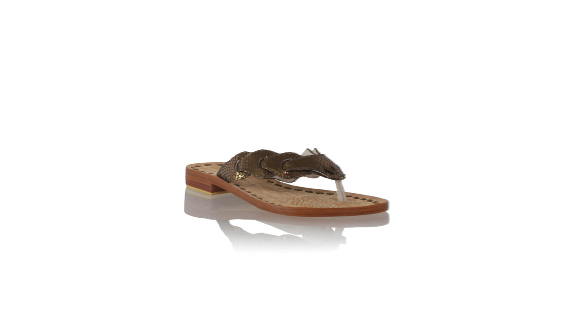 leather shoes Jhonny Thong 20mm Flats - Bronze Snake Print, sandals flat , NILUH DJELANTIK - 1