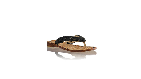 Leather-shoes-Jhonny Thong 20mm Flat - Black Snake Print-sandals flat-NILUH DJELANTIK-NILUH DJELANTIK