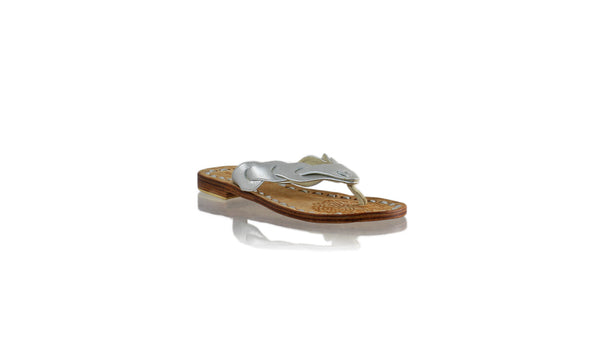 Leather-shoes-Jhonny Thong 20mm Flat - Silver Textured-sandals flat-NILUH DJELANTIK-NILUH DJELANTIK