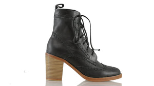 Leather-shoes-Juarez 90mm Wooden heel - Black-boots midheel-NILUH DJELANTIK-NILUH DJELANTIK