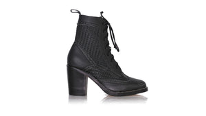 leather shoes Juarez Anyam Enrique 90mm WH - Black, boots midheel , NILUH DJELANTIK - 1