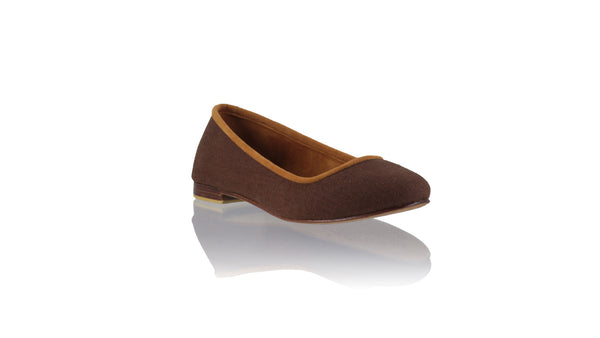 Leather-shoes-Kate 20mm Ballet - Brown Linen-flats ballet-NILUH DJELANTIK-NILUH DJELANTIK