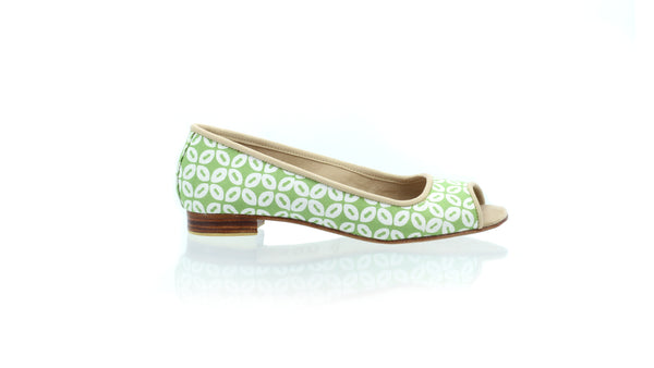 Leather-shoes-Kate Peeptoe 20mm Ballet - Green Batik Motif Kawung S-flats ballet-NILUH DJELANTIK-NILUH DJELANTIK