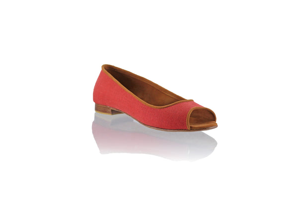 Leather-shoes-Kate Peeptoe 20mm Ballet - Orange Linen-flats ballet-NILUH DJELANTIK-NILUH DJELANTIK