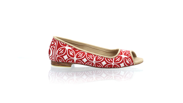 Leather-shoes-Kate Peeptoe 20mm Ballet - Red Batik Motif Kawung-flats ballet-NILUH DJELANTIK-NILUH DJELANTIK