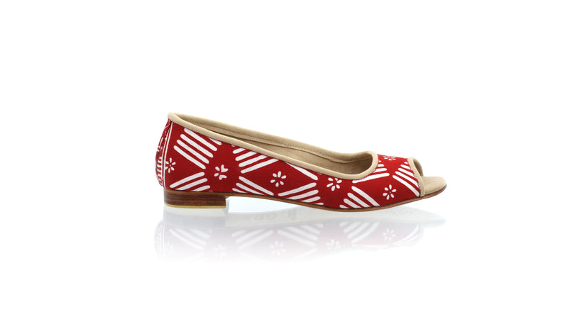 Leather-shoes-Kate Peeptoe 20mm Ballet - Red Batik Motif Line Flower-flats ballet-NILUH DJELANTIK-NILUH DJELANTIK