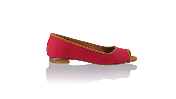 Leather-shoes-Kate Peeptoe 20mm Ballet - Red Linen-flats ballet-NILUH DJELANTIK-NILUH DJELANTIK