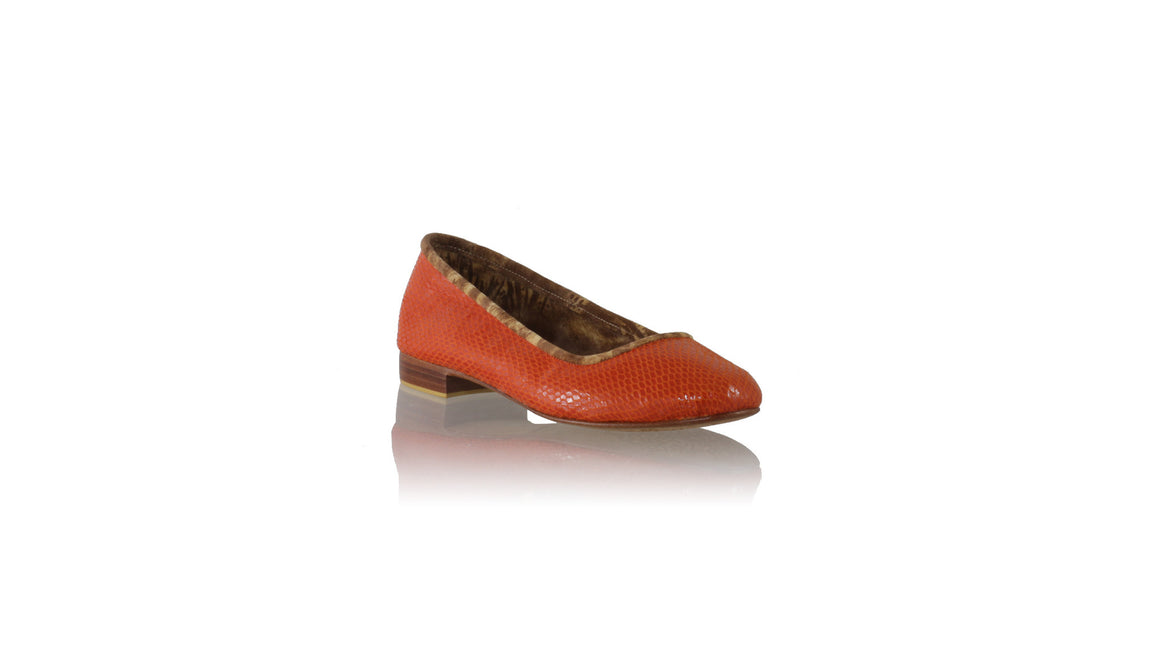 Leather-shoes-Kate 20mm Ballet - Orange Snake Print-Shoes-NILUH DJELANTIK-NILUH DJELANTIK