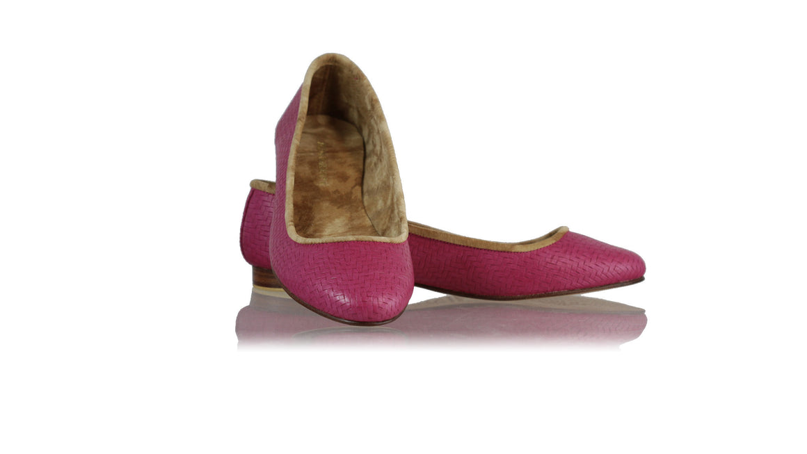 leather shoes Kate Ballet 20mm - Fuschia Woven Embossed, flats ballet , NILUH DJELANTIK - 1