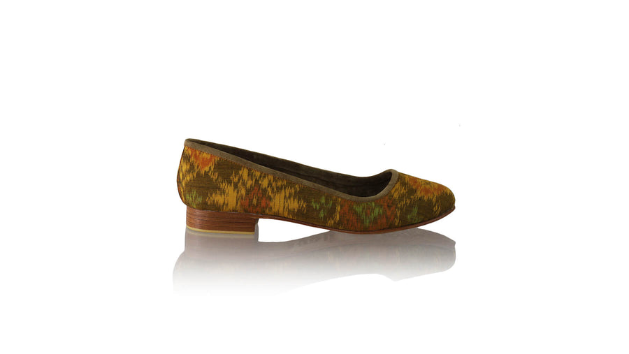 Leather-shoes-Kate 20mm Ballet - Orange Handwoven Ikat-flats ballet-NILUH DJELANTIK-NILUH DJELANTIK