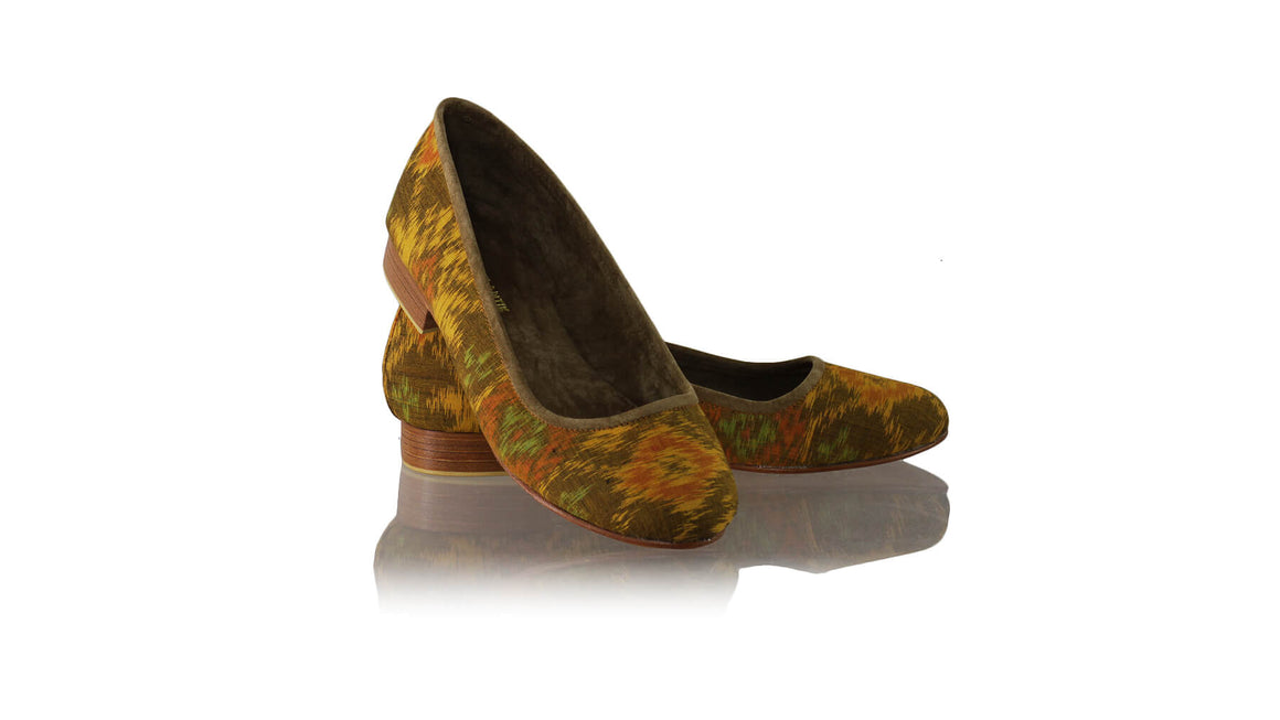 Leather-shoes-Kate Ballet 20mm - Orange Handwoven Ikat-flats ballet-NILUH DJELANTIK-NILUH DJELANTIK