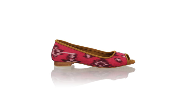 Leather-shoes-Kate Peeptoe 20mm Ballet - Fuschia Handwoven Ikat-flats ballet-NILUH DJELANTIK-NILUH DJELANTIK