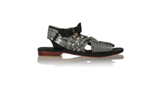 Leather-shoes-Kumala 20mm Flats - Black & Grey Metallic-sandals flat-NILUH DJELANTIK-NILUH DJELANTIK
