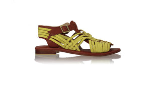 Leather-shoes-Kumala 20mm Flats - Burnt Orange & Yellow Lime-sandals flat-NILUH DJELANTIK-NILUH DJELANTIK