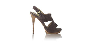 leather shoes Lilies PF with Strap 140mm SH - Dark Brown, sandals higheel , NILUH DJELANTIK - 1