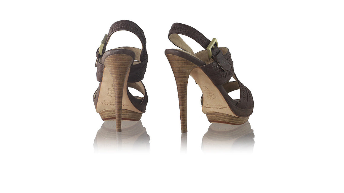 Leather-shoes-Lilies PF with Strap 140mm SH - Dark Brown-sandals higheel-NILUH DJELANTIK-NILUH DJELANTIK