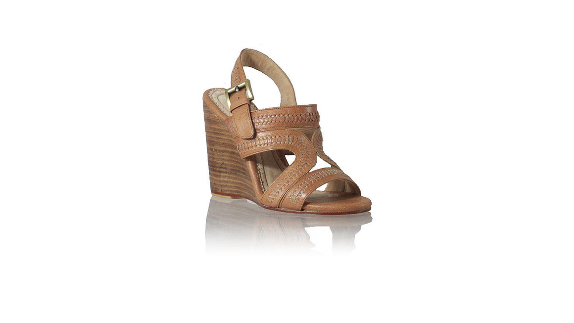 leather shoes Lilies with Strap 110mm Wedges - Brown, sandals wedges , NILUH DJELANTIK - 1