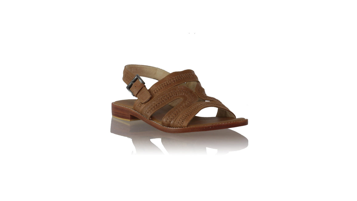 leather shoes Lilies with Strap 20mm Flats - Brown, sandals flat , NILUH DJELANTIK - 1
