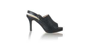 leather shoes Lina PF Woven Enrique with Strap 90mm SH - Black, sandals higheel , NILUH DJELANTIK - 1