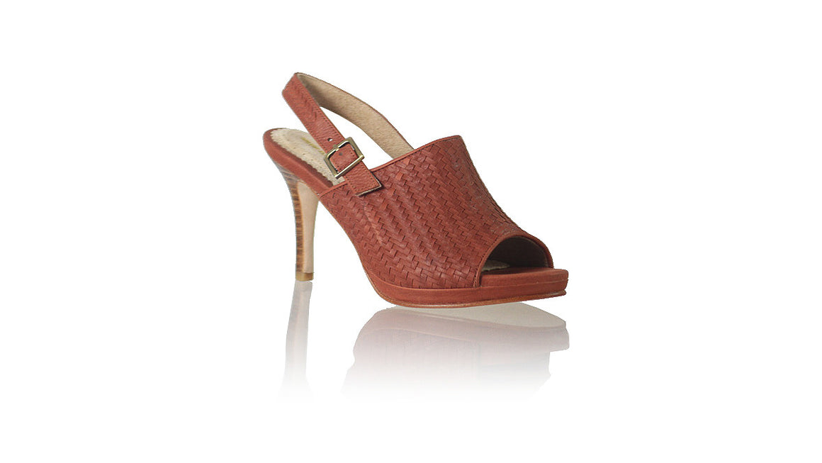 leather shoes Lina PF Woven Enrique with Strap 90mm SH -  Burnt Orange, sandals higheel , NILUH DJELANTIK - 1