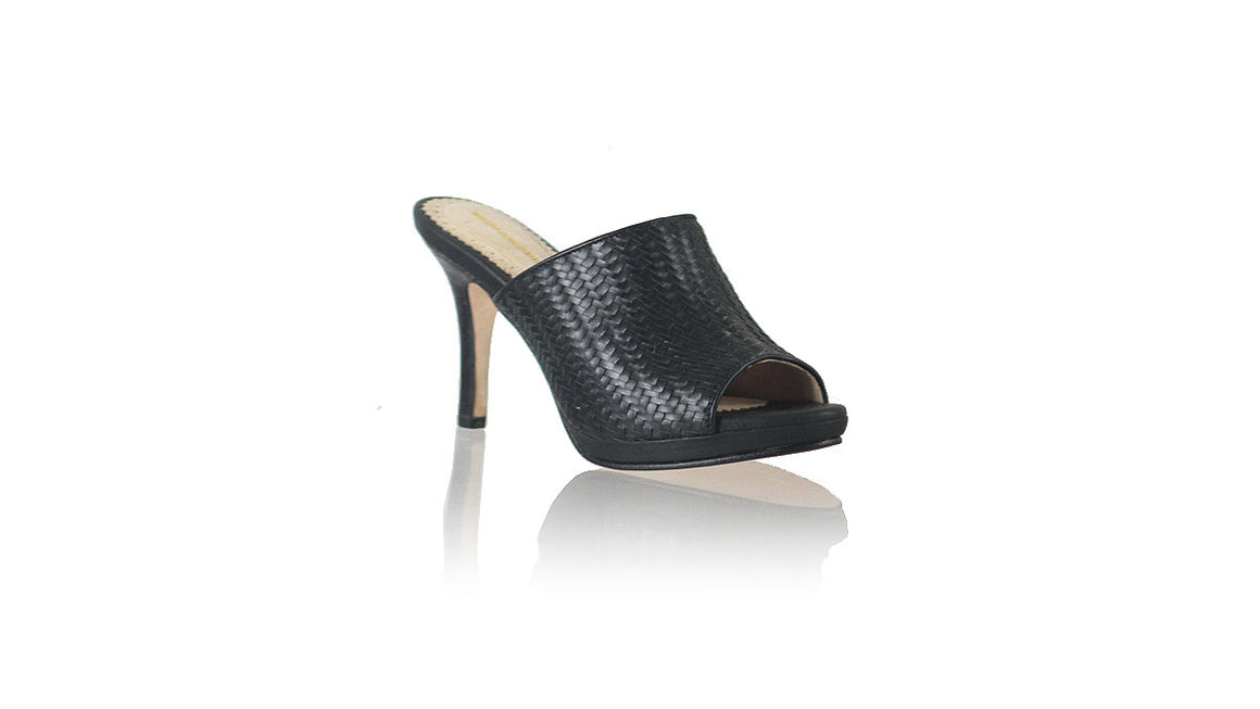 leather shoes Lina PF Woven Enrique without Strap 90mm SH - Black, sandals higheel , NILUH DJELANTIK - 1
